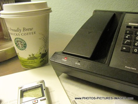 Starbucks Coffee, Desk Telephone, Voice Recorder